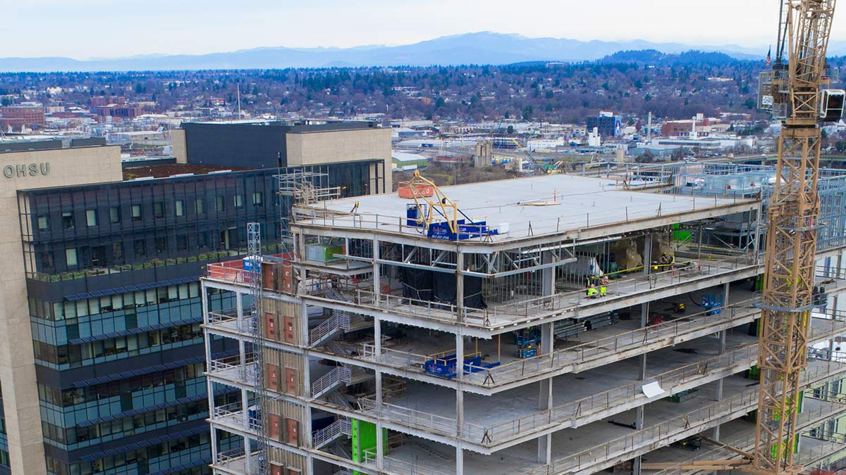 Rooftop installation of High-Rise Material Hoist in Portland